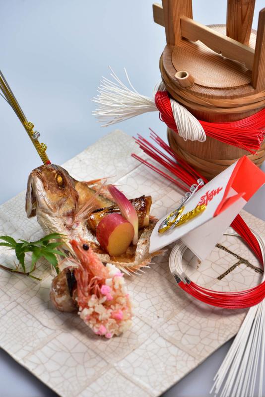 小鯛と車海老の焼物